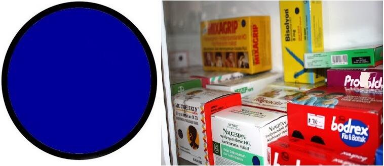Contoh kemasan obat bebas terbatas dengan logo biru