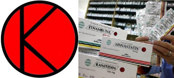 Contoh kemasan Obat Keras dan Psikotropika dengan logo K